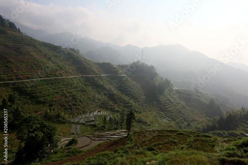 Fotobehang Wit The landscape of the purple magpie terraces.