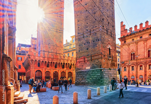 Tela  People at Two towers on Piazza Porta Ravegnana Bologna city inItaly