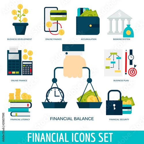 Photo Banking money financial services set credit sign development online accumulation bank investment management finance vector illustration