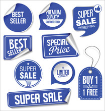 Sale Stickers And Tags Blue Design Illustration