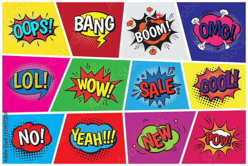 Poster Pop Art Pop art comic vector speech cartoon bubbles in popart style with humor text boom or bang bubbling expression asrtistic comics shapes set isolated on background illustration