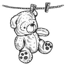 Teddy Bear On Rope Engraving V...