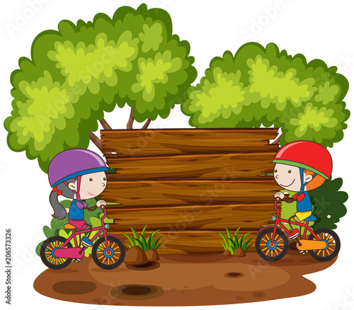 Photo Stands Kids Children Riding Bicycle Next to Wooden Board