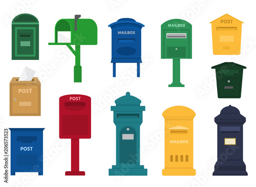 Cuadros en Lienzo Mail box vector post mailbox or postal letterbox of American or European mailing
