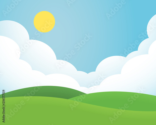 Flat design illustration of landscape with meadow and hill under blue sky with clouds and sun