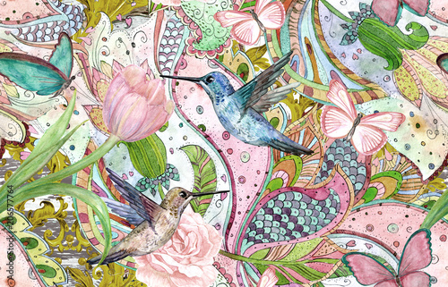 Canvas Prints Butterflies in Grunge fashion seamless texture with ethnic floral ornament and hummingbirds. watercolor painting