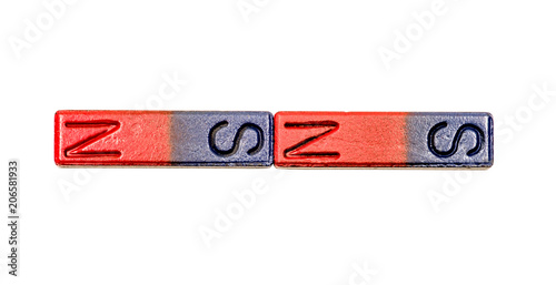 two red and blue bar magnets isolated on white background with clipping path