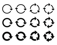 Round Arrows Graphic Signs Set. Refresh And Reload Arrows Icons. Rotation Vector Arrows Set. Vector Illustration