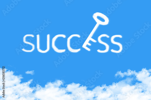 Photo  key to success shape clouds , business concept on blue sky
