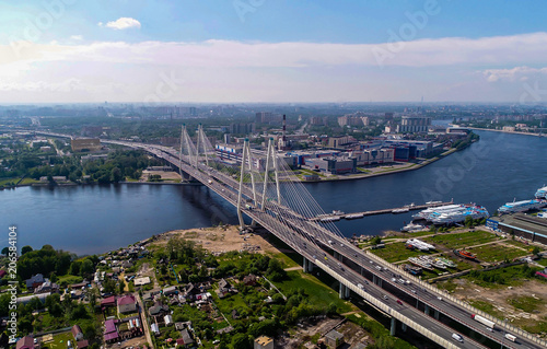 Tuinposter Purper city landscape bridge over the river photo from the height