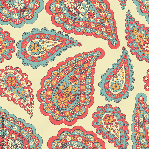 Cotton fabric Seamless pattern with paisley ornament. Ornate floral decor. Vector illustration