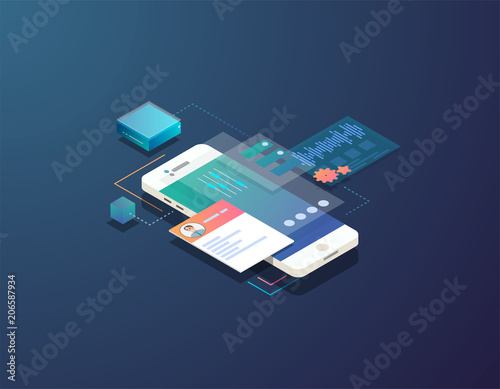 Obraz Mobile development concept. Isometric mobile phone with futuristic UI and layers of applications. App on mobile phone. Innovation in UI and software development.  - fototapety do salonu