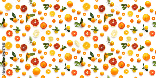 Food texture. Seamless pattern of fresh fruit tangerines and orange isolated on white background, top view, flat lay. - 206587955