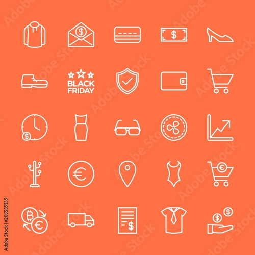 Modern Simple Set Of Clothes Money Shopping Vector Outline