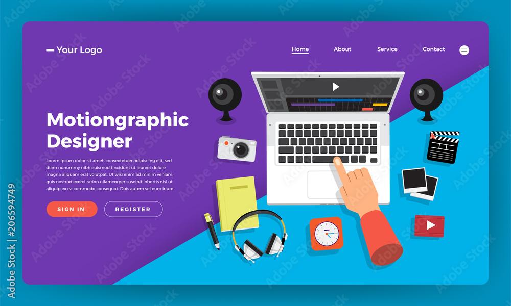Fototapety, obrazy: Mock-up design website flat design concept motiongraphic & video effect designer.  Vector illustration.