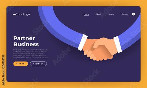 Fototapeta Mock-up design website flat design concept partner business deal.  Vector illustration. obraz
