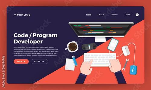 Fotografía  Mock-up design website flat design concept coding and programming developer