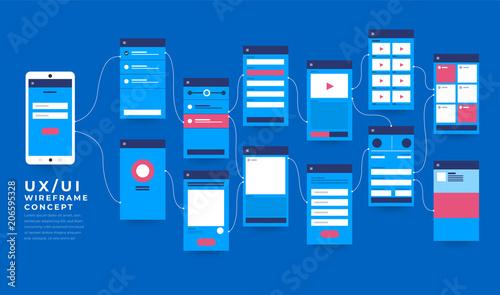 Ux Ui Flowchart Mock Ups Mobile Application Concept Flat Design