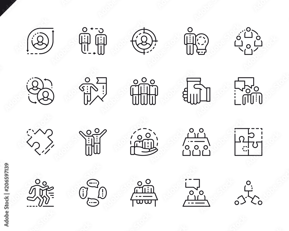 Fototapeta Simple Set Teamwork Line Icons for Website and Mobile Apps.