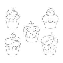 Set Of Cupcakes In Trendy One Line Style. Vector.