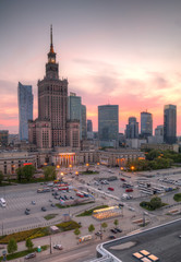 Panorama of the city at sunset. Warsaw, Poland.