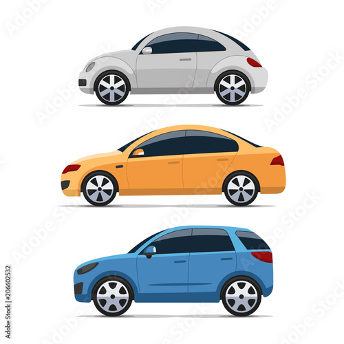 Spoed Foto op Canvas Cartoon cars Car side view vector set. Silver mini, yellow sedan and blue hatchback auto. Isolated on white background. Colorful flat style illustration.