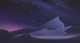 Desert landscape with stars on the night sky. Romantic natural wallpaper for sci-fi or fantasy background.