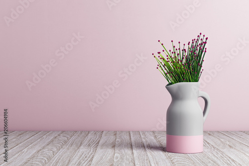 Fotomural Vase with flowers on pink background