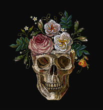 Embroidery Skull Clown With Flowers In The Head. Gothic Art Template For Design Of Clothes, T-shirt Design, Tapestry