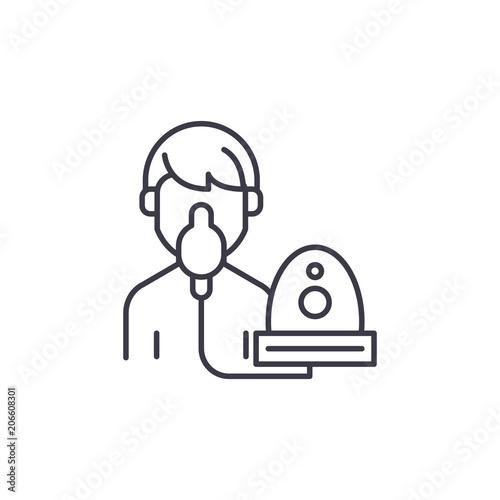Obraz na płótnie Oxygen mask linear icon concept
