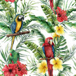canvas print picture - Watercolor tropical seamless pattern with tropical leaves and parrot. Hand painted flowers and palm branch on white background. Botanical illustration for design, print, fabric or background.