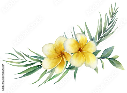 Photographie Watercolor floral tropical bouquet with plumeria and palm branch
