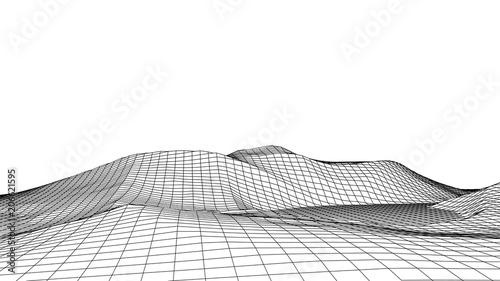 Vászonkép Wireframe landscape wire