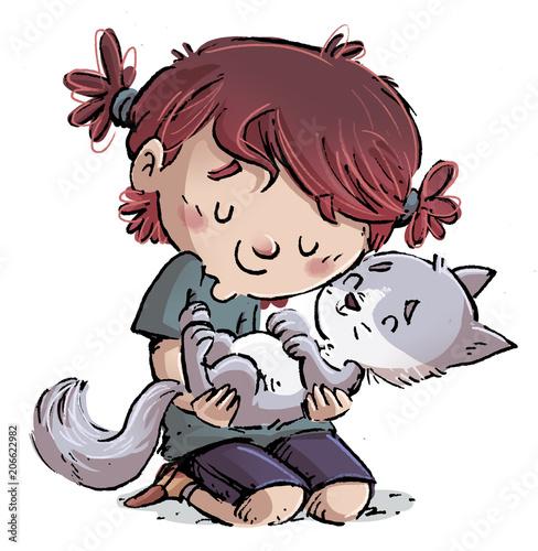 Canvas Print niña con gato
