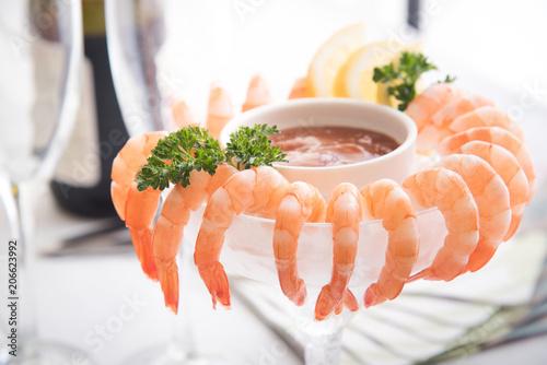 shrimp cocktail in white background