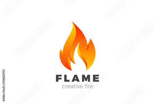 Canvas Print Fire Flame Logo design vector. Burning Inferno Energy Power icon