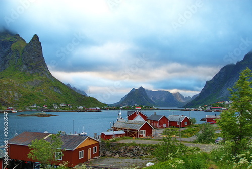 Deurstickers Poolcirkel Norway. Fisherman's village in the Lofoten Islands