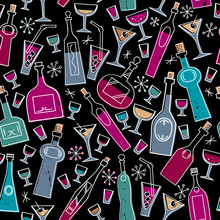 Bottle/Seamless Pattern With Bottles And Glasses.