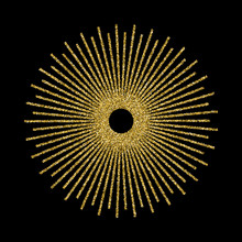 Abstract Golden Sunburst On Black Background. Vintage Sun Burst Design Element. Geometric Shape, Light Ray. Vector Illustration.