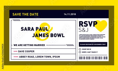 Save The Date Wedding Invitation Card Modern Design Template In