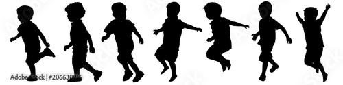 Children silhouettes playing - 206630916