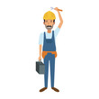 Construction worker cartoon vector illustration graphic design