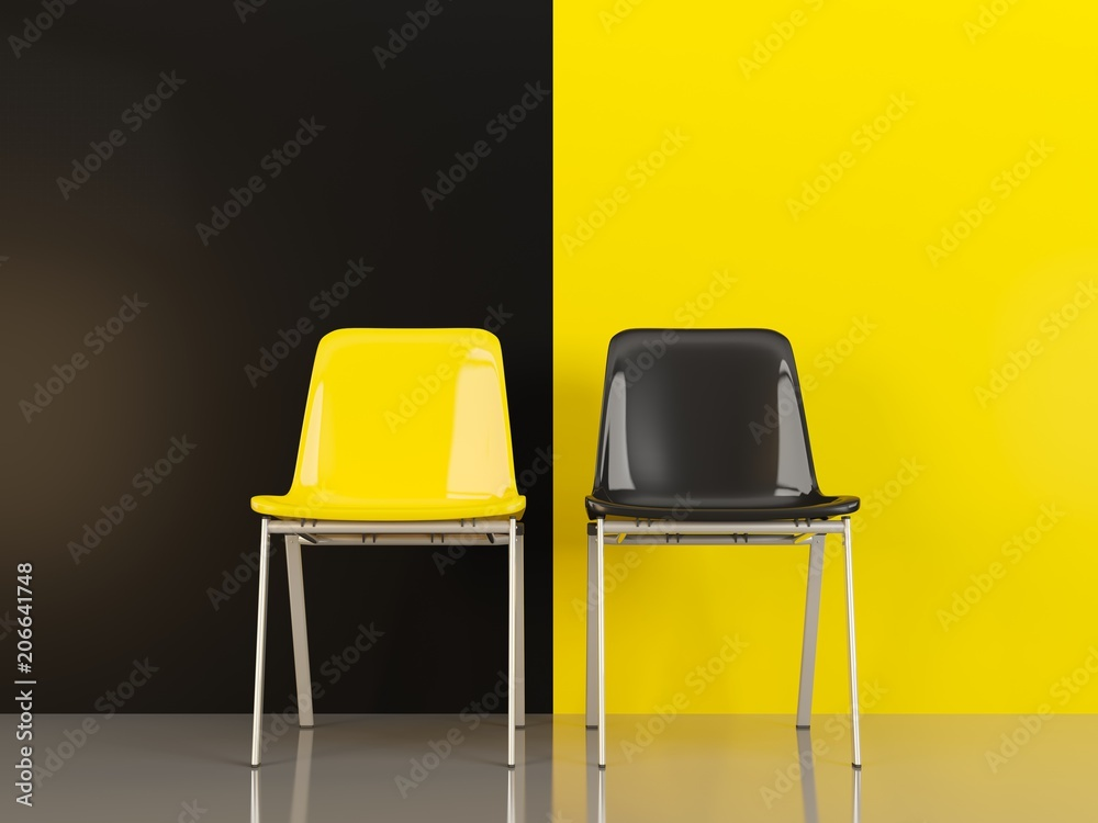Fototapety, obrazy: Two chairs in front of black and yellow wal