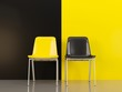 canvas print picture - Two chairs in front of black and yellow wal