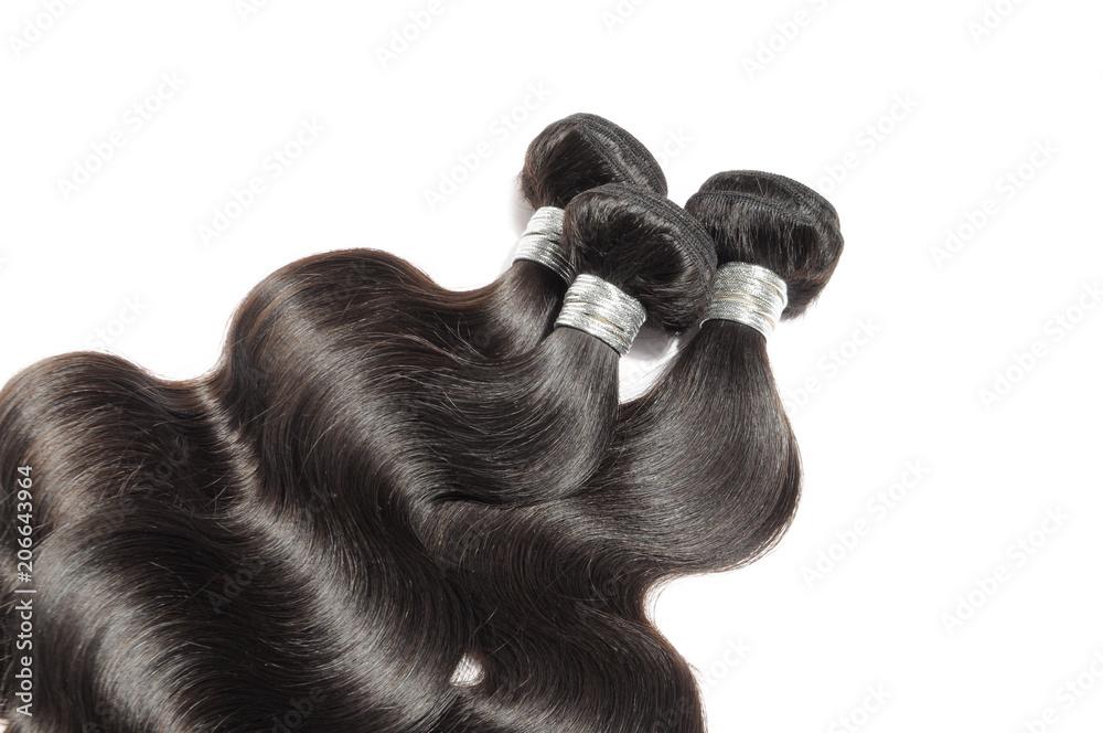 Fototapeta Virgin remy body wavy black human hair weaves extensions bundles