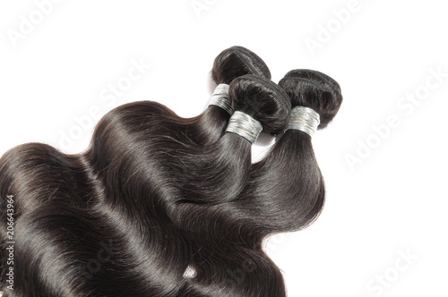 Fotografía  Virgin remy body wavy black human hair weaves extensions bundles