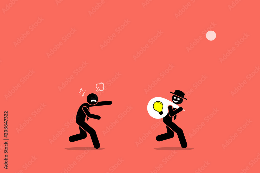 Fototapeta Evil businessman stealing business idea. Vector artwork illustration depicts the concept of business thief, copyright infringement, plagiarism , bad person, dishonest, underhand, and cheater.