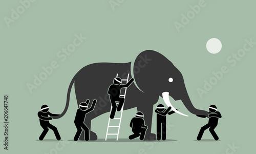 Fotografiet Blind men touching an elephant