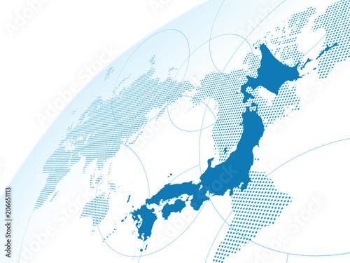 日本地図 世界地図 グローバル ビジネス Tableau sur Toile