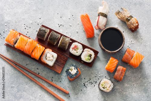Sushi set, soy sauce, ginger and chopstiks